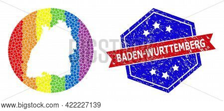 Dotted Spectral Map Of Baden-wurttemberg State Mosaic Formed With Circle And Cut Out Shape, And Dist
