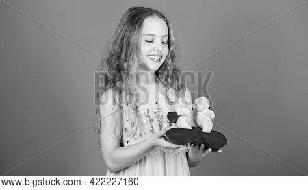 Celebrate Love. Kid Little Girl Carefully Hold Heart Soft Toy Teddy Bear. Small Girl Hold Couple In