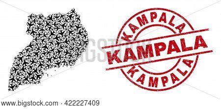 Kampala Grunge Seal, And Uganda Map Mosaic Of Airliner Items. Mosaic Uganda Map Created Of Aeroplane