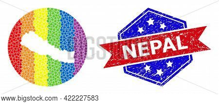 Dotted Spectrum Map Of Nepal Mosaic Created With Circle And Carved Shape, And Scratched Seal. Lgbtq
