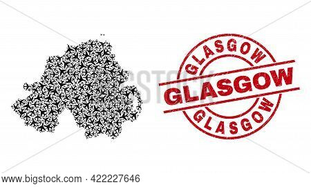 Glasgow Rubber Seal Stamp, And Northern Ireland Map Collage Of Aeroplane Elements. Collage Northern