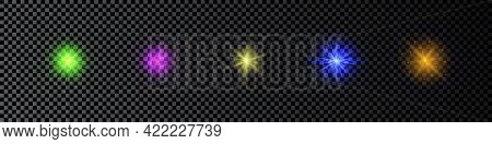 Light Effect Of Lens Flares. Set Of Five Multicolor Glowing Lights Starburst Effects With Sparkles O