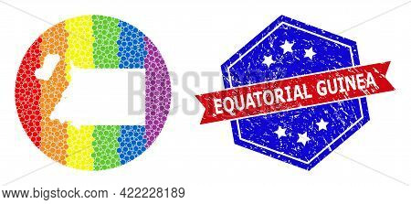 Pixelated Spectral Map Of Equatorial Guinea Collage Formed With Circle And Hole, And Textured Seal S