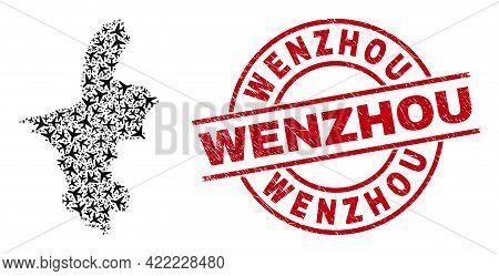 Wenzhou Textured Seal, And Ningxia Hui Region Map Mosaic Of Aviation Items. Collage Ningxia Hui Regi