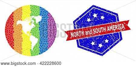 Pixelated Spectrum Map Of South And North America Mosaic Designed With Circle And Stencil, And Textu