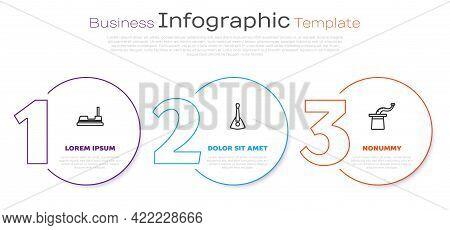 Set Line Bumper Car, Balalaika And Magician Hat. Business Infographic Template. Vector
