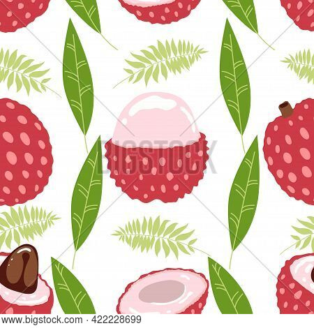 Seamless Pattern Of Lychee - Tropical Fruit And Leaves On White Background. Tropical Fruit In Modern