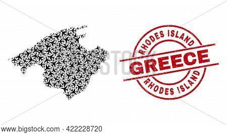 Rhodes Island Greece Rubber Badge, And Majorca Map Mosaic Of Air Force Elements. Mosaic Majorca Map