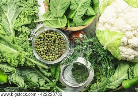 Green Vegetables, Herbs, Beans And Fruits. Healthy Clean Eating: Leaf Vegetables, Seeds, Superfoods