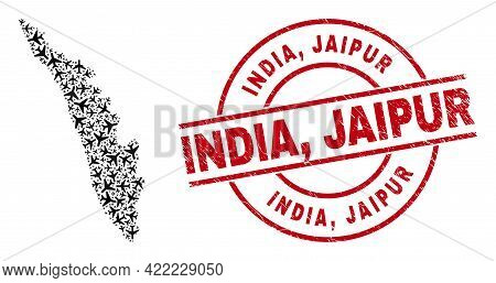 India, Jaipur Scratched Seal, And Kerala State Map Collage Of Aviation Elements. Collage Kerala Stat