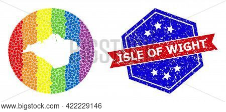 Dotted Rainbow Gradiented Map Of Isle Of Wight Collage Composed With Circle And Subtracted Space, An