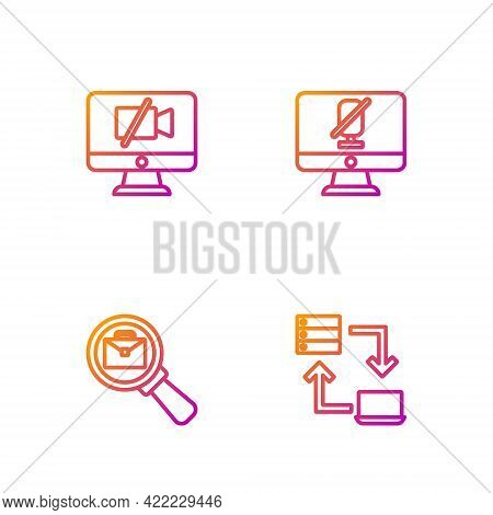 Set Line Online Working, Magnifying Glass With Briefcase, Video Camera Off On Computer And Mute Micr