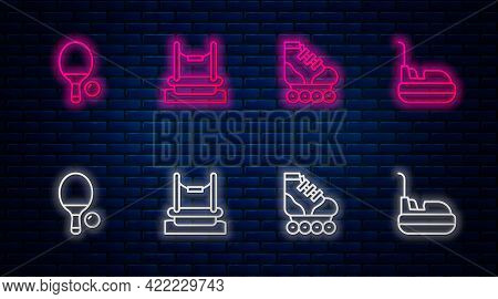 Set Line Bungee, Roller Skate, Racket And Ball And Bumper Car. Glowing Neon Icon On Brick Wall. Vect