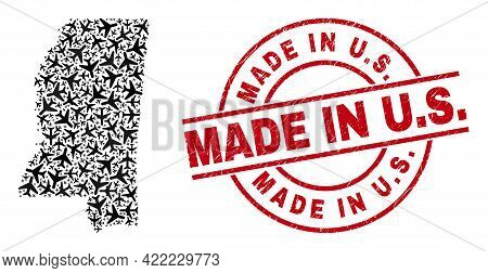 Made In U.s. Grunged Seal, And Mississippi State Map Collage Of Air Plane Elements. Collage Mississi
