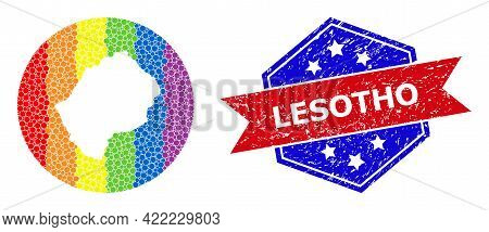 Pixelated Spectral Map Of Lesotho Mosaic Designed With Circle And Carved Shape, And Scratched Badge.