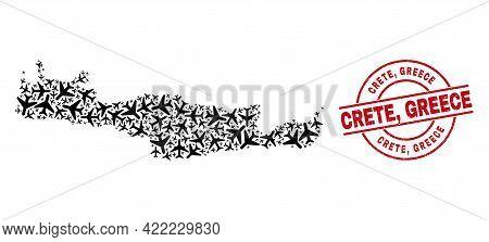 Crete, Greece Rubber Stamp, And Crete Map Collage Of Jet Vehicle Elements. Collage Crete Map Designe