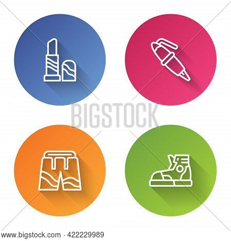 Set Line Lipstick, Fountain Pen Nib, Short Or Pants And Sport Sneakers. Color Circle Button. Vector