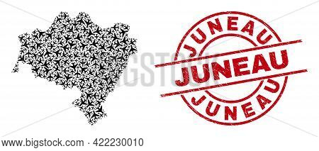 Juneau Rubber Stamp, And Lower Silesian Voivodeship Map Mosaic Of Aeroplane Elements. Collage Lower