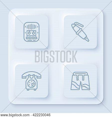 Set Line Cassette Tape Player, Fountain Pen Nib, Telephone Handset And Short Or Pants. White Square