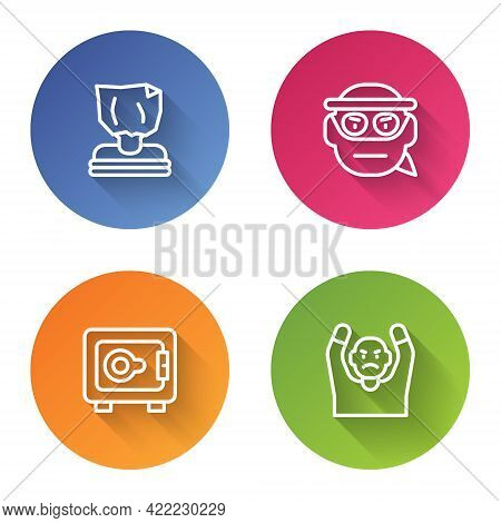 Set Line Kidnaping, Bandit, Safe And Thief Surrendering Hands Up. Color Circle Button. Vector