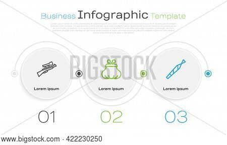 Set Line Sniper Rifle With Scope, Wallet And Marijuana Joint. Business Infographic Template. Vector