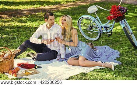 Cute Couple Drinking Wine. Romance Concept. Toast. Celebrate Anniversary. Attractive Couple Enjoying