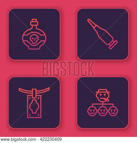 Set Line Poison In Bottle, Money Laundering, Bullet And Mafia. Blue Square Button. Vector