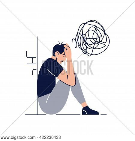 Anxiety Concept. Frustrated Stressed Man With Nervous Problem Feels Anxiety, Closing Face. Mental Di