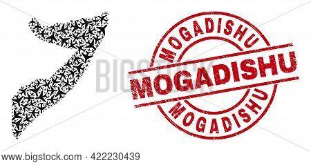 Mogadishu Textured Badge, And Somalia Map Collage Of Jet Vehicle Items. Collage Somalia Map Designed