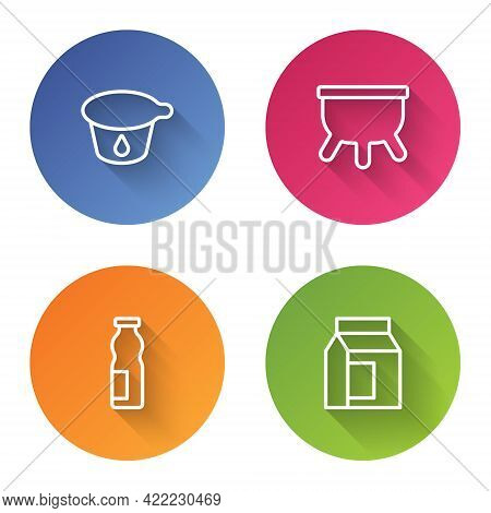 Set Line Yogurt Container, Udder, Drinking Yogurt Bottle And Paper Package For Milk. Color Circle Bu