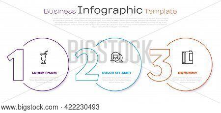 Set Line Milkshake, Udder And Paper Package For Kefir. Business Infographic Template. Vector