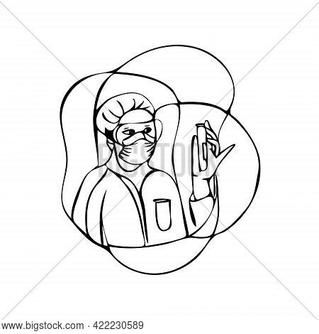 Outline Vector Illustration Of Character Doctor Take A Sample On Thru Drive Covid-19 Check Point For