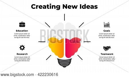 Creating New Ideas Infographic With Left And Right Hemispheres In The Light Bulb. Creative Thinking