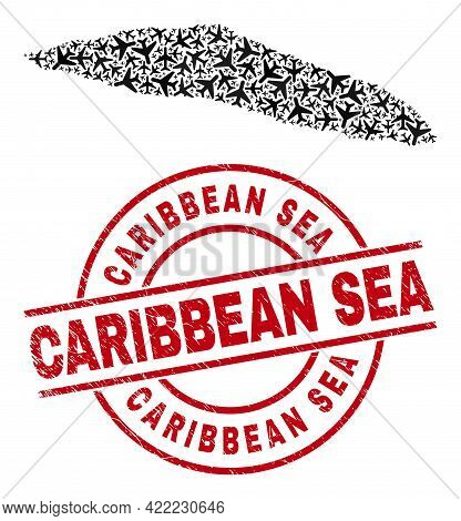 Caribbean Sea Scratched Seal Stamp, And Tortuga Island Of Haiti Map Mosaic Of Aviation Elements. Mos