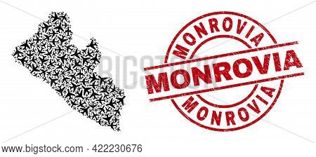 Monrovia Distress Badge, And Liberia Map Collage Of Aviation Elements. Collage Liberia Map Construct