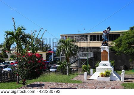 Guadeloupe, France - December 3, 2019: World War I Memorial On A Town Square In Pointe-noire, Guadel