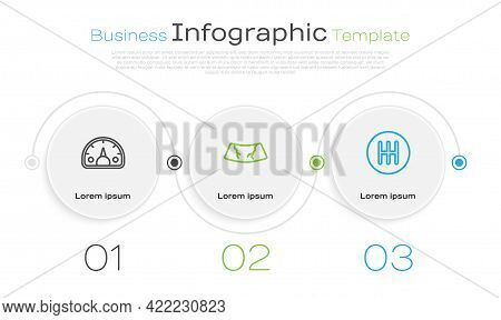 Set Line Speedometer, Broken Windshield And Gear Shifter. Business Infographic Template. Vector