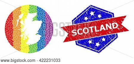 Pixelated Spectrum Map Of Scotland Mosaic Created With Circle And Stencil, And Scratched Watermark.