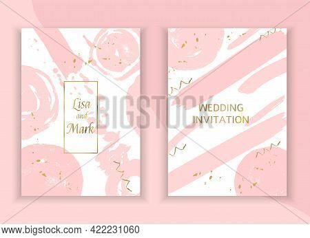 Wedding Invitation Background Template. Pink Hand Drawn Blots And Gold Blob Spatters For Wedding Car