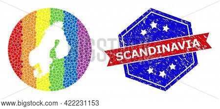 Dotted Rainbow Gradiented Map Of Scandinavia Collage Designed With Circle And Carved Shape, And Scra