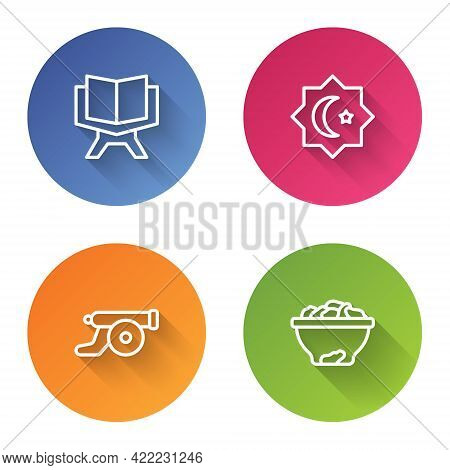 Set Line Holy Book Of Koran, Octagonal Star, Ramadan Cannon And Date Fruit In Bowl. Color Circle But