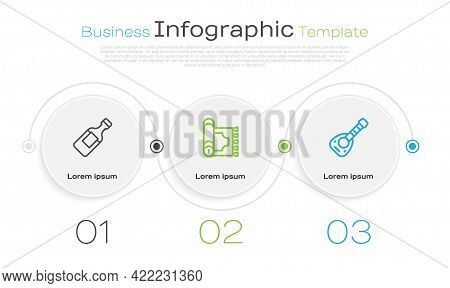 Set Line Bottle Of Water, Traditional Carpet And Lute. Business Infographic Template. Vector