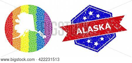 Dotted Spectral Map Of Alaska State Collage Composed With Circle And Cut Out Shape, And Distress Sta