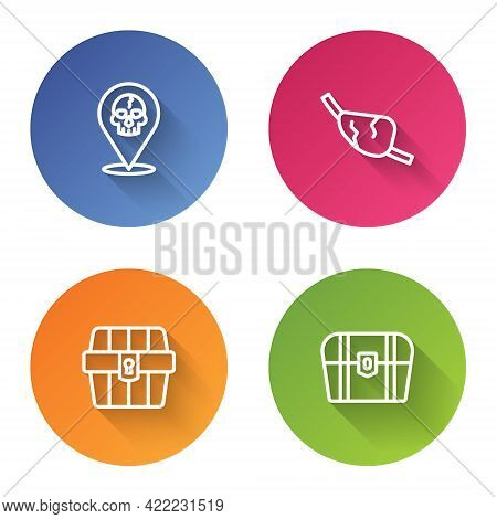 Set Line Location Pirate, Pirate Eye Patch, Antique Treasure Chest And . Color Circle Button. Vector