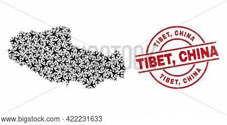 Tibet, China Grunge Seal Stamp, And Tibet Map Mosaic Of Aircraft Elements. Mosaic Tibet Map Construc