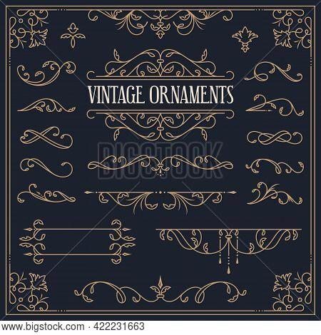 Vector Vintage Ornaments - Decorative Borders, Dividers, Vignettes, Flourishes, Frame. Set Of Golden