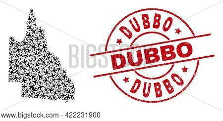 Dubbo Rubber Badge, And Australian Queensland Map Collage Of Air Force Elements. Mosaic Australian Q