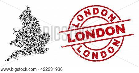 London Rubber Stamp, And England Map Mosaic Of Aviation Elements. Collage England Map Created Using