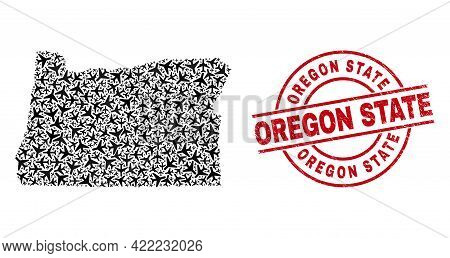 Oregon State Rubber Stamp, And Oregon State Map Collage Of Aviation Items. Collage Oregon State Map