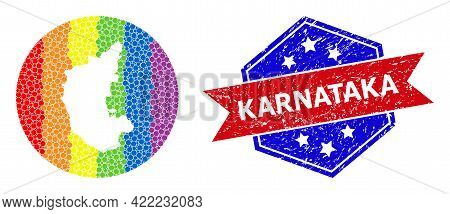 Pixelated Spectrum Map Of Karnataka State Mosaic Designed With Circle And Stencil, And Distress Seal